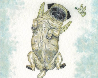 ORIGINAL PAINTING of a Angel Pug ... a Watercolor Painting