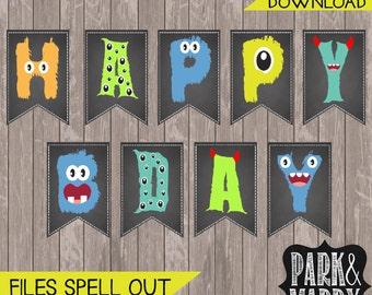Little Monster Birthday Banner Chalkboard Printable. Monster Party. Monster Decorations.