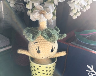 Happy Onion Amigurumi Toy or Pincushion, Ready to Ship