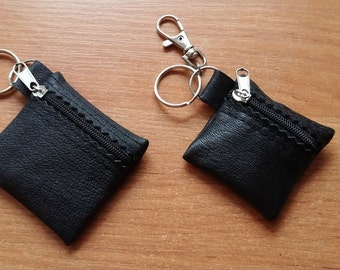 100% Real Genuine Leather Small Keyring Key Pouch Purse Wallet Coins Ring Keychain CARABINER