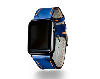 Apple Watch Band 38mm or 42mm, Navy Blue | Hand-Made in USA