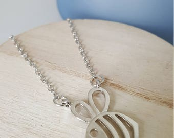 Cute Bumble Bee Necklace Silver Tone Jewellery Cut Out Honey