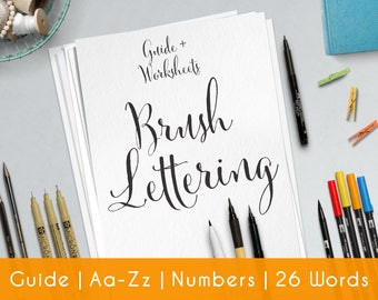 Brush Lettering | 27 Pratice Sheets | guide for Beginners | Printable | Modern Hand Lettering workbook | Learn Calligraphy | Worksheets | B3