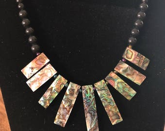Abalone necklace with beads