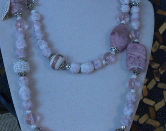 Pink necklace, pink glass, beaded necklace, boho necklace, lampwork glass, pink and pearl, pink and white, long necklace, statement necklace