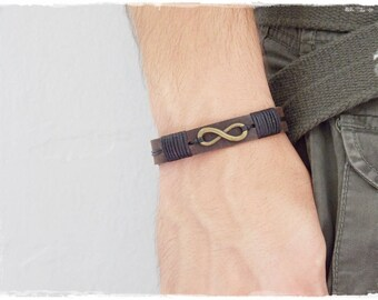 Leather Men's Bracelet, Infinity Leather Bracelet, 3rd Anniversary Bracelet, Friendship Bracelet Cuff, Eternity Symbol Leather Bracelet Cuff