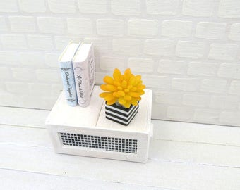Yellow Echeveria in striped black and white vase for dollhouse in 1:12 scale