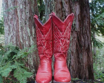 Sweet Heart of the Rodeo Red Cowgirl Boots sz 6