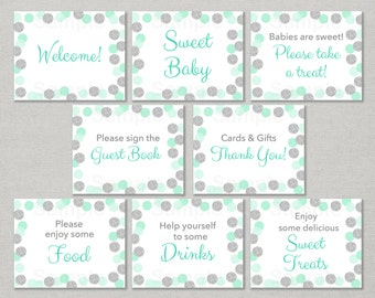 Mint & Silver Baby Shower Table Signs / Glitter Baby Shower / Glitter Dots / 8 Printable Party Signs / INSTANT DOWNLOAD A125