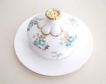Vintage Royal Albert Covered Dish Serving Plate Butter Soap White Gold Turquoise