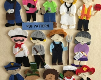 Community Helpers Felt Board, Policeman, Fireman, Chef, Soldier, Nurse, Hair Sylist and 8 Others - PDF PATTERN ONLY