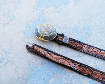 vintage Tooled Leather Belt -  Floral Black and Brown Leather Belt with Etched Metal Buckle Sz M L XL
