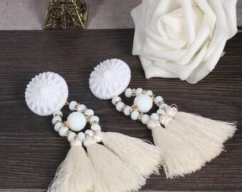 Tassel Earrings, Drop Earrings, White Tassel Earrings, Boho Tassel Earrings,Tassel Dangle Earrings, For Women, Tassel Jewelry