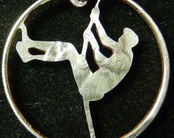 Pole Vault Hand Cut Coin Jewelry
