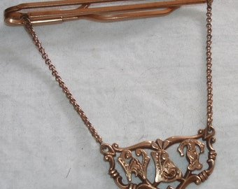 """Antique TIE Bar CHAIN Clasp from Art Nouvea era with """"W.L.T"""" in GOTHIC Monogram of 1/20 10kt Gold Filled"""
