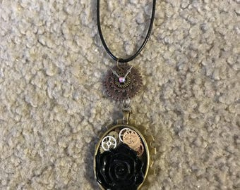 Black rose steampunk pendant