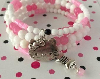 Hello Kitty Bracelet, Adult Hello Kitty Bracelet, Wrap Bracelet, Hello Kitty, Cat Bracelet, Glass Wrap Bracelet, Cute Bracelet
