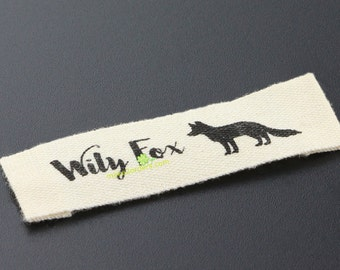 100 Printed Labels, Custom Fabric Tags, Sew in Cloth Labels, Labels for Clothing, Sew in Name Labels, Custom Clothing Tag, Free Post Ship.