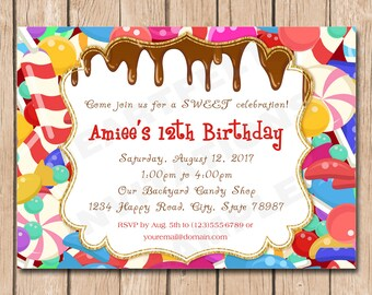 Candy Shop  Birthday Invitation | Sweets, Chocolate, Teen, Simple - 1.00 each printed
