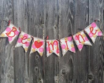 Be Mine Polka Dot Heart Valentine Burlap Banner