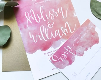 Custom Watercolor Calligraphy Wedding invitation Suite