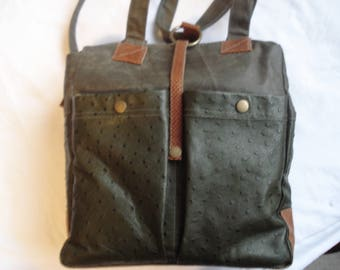 Coated linen and genuine ostrich leather large bag