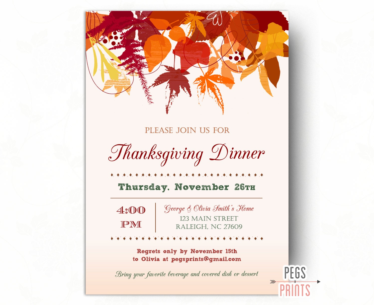 Thanksgiving Invitations Printable Thanksgiving Dinner