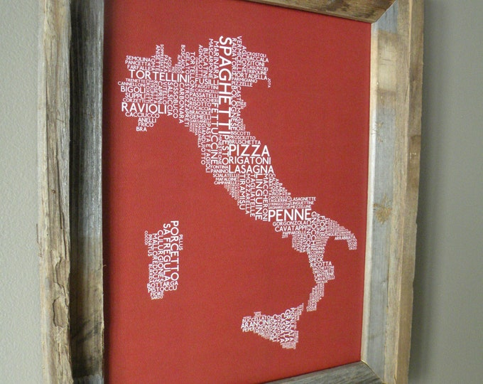 Italian Foods Map (Red) - Unframed