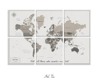 Canvas Wall art / Multi panel art / Push Pin Travel Map of World / World Map / Large Wall art / Push Pin Map