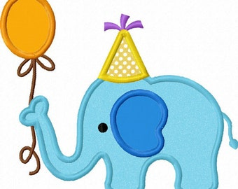 Instant Download Birthday Elephant Applique Machine Embroidery Design NO:1286