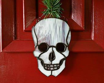 Skull, Stainted Glass, Sun Catcher, Ornament, goth, home decor