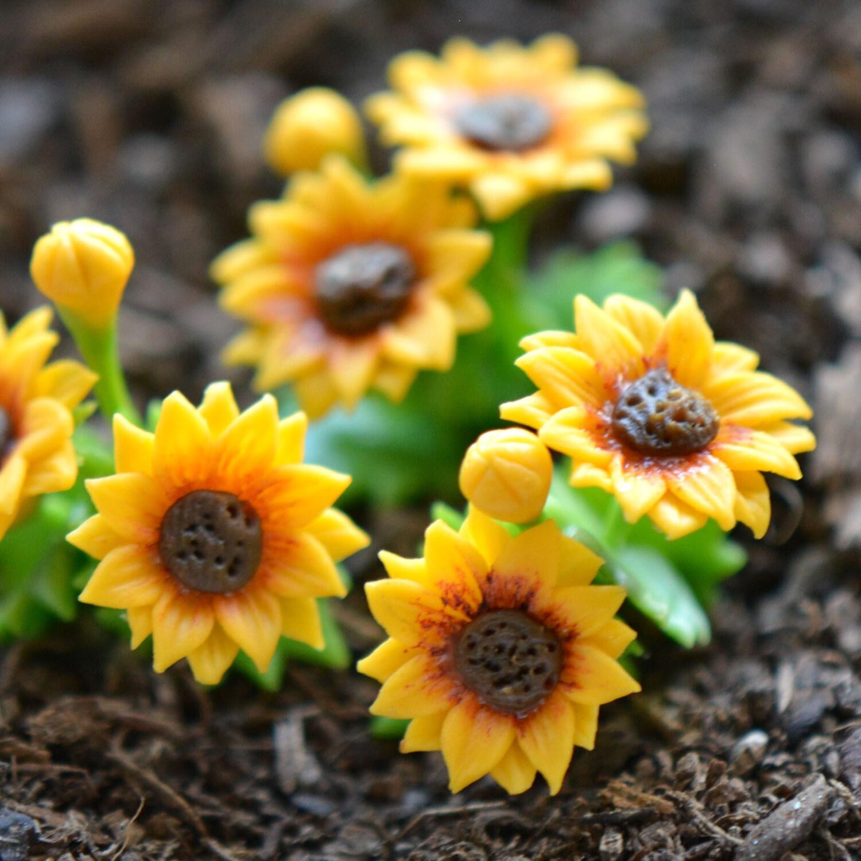 1 Miniature Sunflower Flower Glass Terrarium Filler Hand