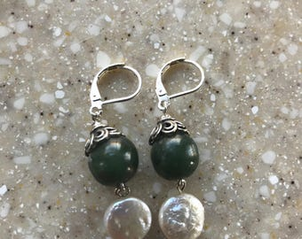 Jade and Coin Pearl Sterling Silver Earrings