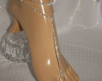 Barefoot Sandals Pearl Foot Jewelry Crystal Beach Sandals Bridal Barefoot Sandals Bridesmaids Gift