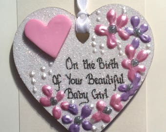 New Baby Girl handpainted unique keepsake glitter heart, on a greetings card, unique, handcarfted, sparkly and personalised