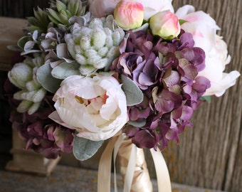 Blush Peonies, Plum Hydrangea, Succulents Silk Wedding Bouquet