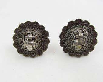 Vintage 1940s Earrings | Silver | Aztec Sun God | Clip-on Earrings | Round | Day Sun | Night Sun