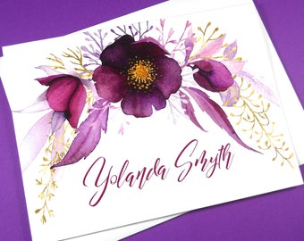 PERSONALIZED STATIONERY SET, Personalized Stationery, Custom Stationery, Calligraphy Stationery, Women's Note Cards, Modern Stationery Set