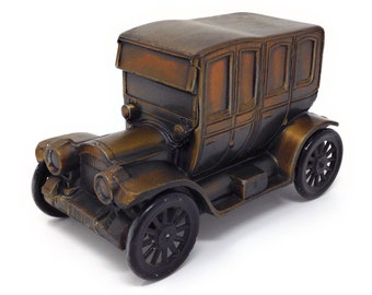 Vintage Banthrico 1912 Packard Town Car Coin Bank Bronzed Die Cast White Metal