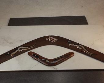 "Vintage Australian boomerang made by the ""Gurang Gurang"" tribe and included a smaller boomerang"