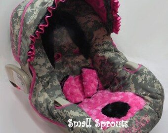 Custom Boutique ACU Digital Camo with Hot Pink & Black Minky Infant Car Seat Cover 5 piece set