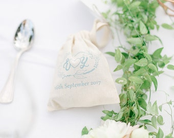 Personalised Wedding Rustic Favour Bags - Natural Cotton