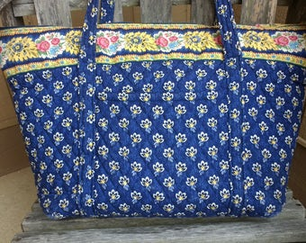 Vera Bradley Large Tote Retired Pattern Navy Blue