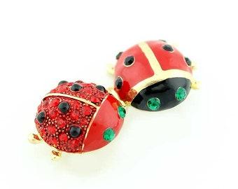 Ladybugs Brooch, Ladybugs Broach, Beetle Broach, Ruby Red Rhinestone Bug Insect Jewelry Component, Ladybug DIY Craft Project Embellishment
