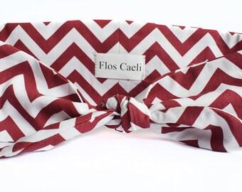 Wine Red Zig Zag Headband - Cotton Headband