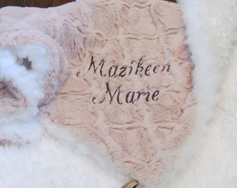 Personalized Minky baby blanket - Llama white minky and rose pink tile minky blanket- girl baby blanket- girls toddler blanket- crib blanket