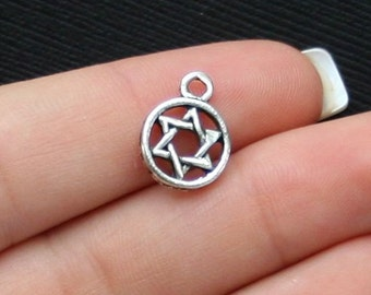12 Star of David Charms Antique  Silver Tone - SC2485
