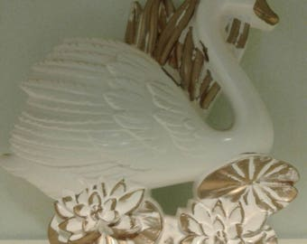 Mid century wall swan....chalkware....white and gold....detailed