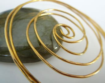 Medium Swirl Hoop Earrings. TWISTER. with hammered surface in 20 gauge 24 Karat Gold  Plated wire. Free Shipping Item .