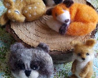 Needle Felted Woodland Animal pins